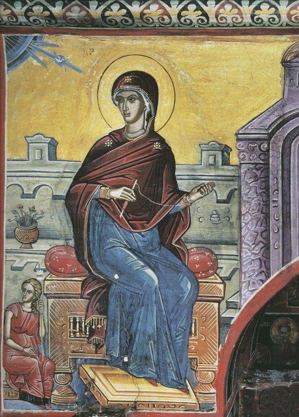 Пресвятая Дева. Благовещение. XVI век. Дионисиат. Афон.