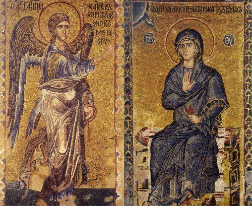 Благовещение Пресвятой Богородицы. Мозаика собора монастыря Ватопед. XIV век. Афон.