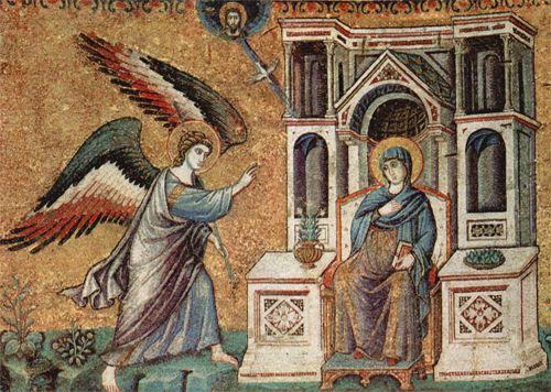 Благовещение Девы Марии. Мозаика собора монастыря Ватопед. XIV век. Афон.