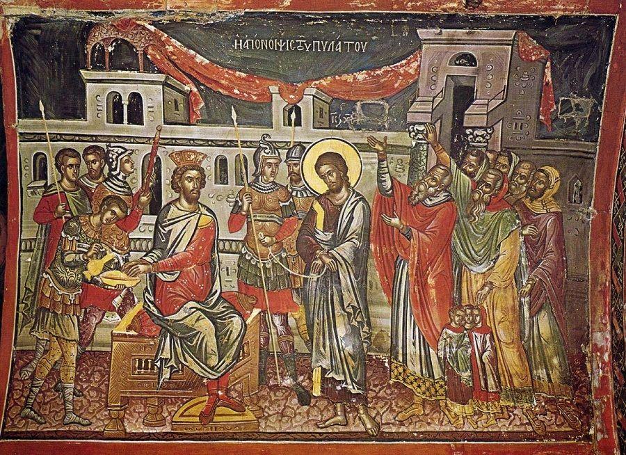Великая Пятница. Христос перед Пилатом. Фреска Феофана Критского. Монастырь Ставроникита, Афон, ХVI век