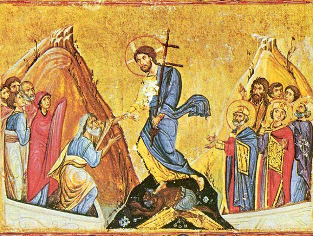 Суббота. Сошествие Христа во ад. Византийская миниатюра. Монастырь Дионисиат, Афон.