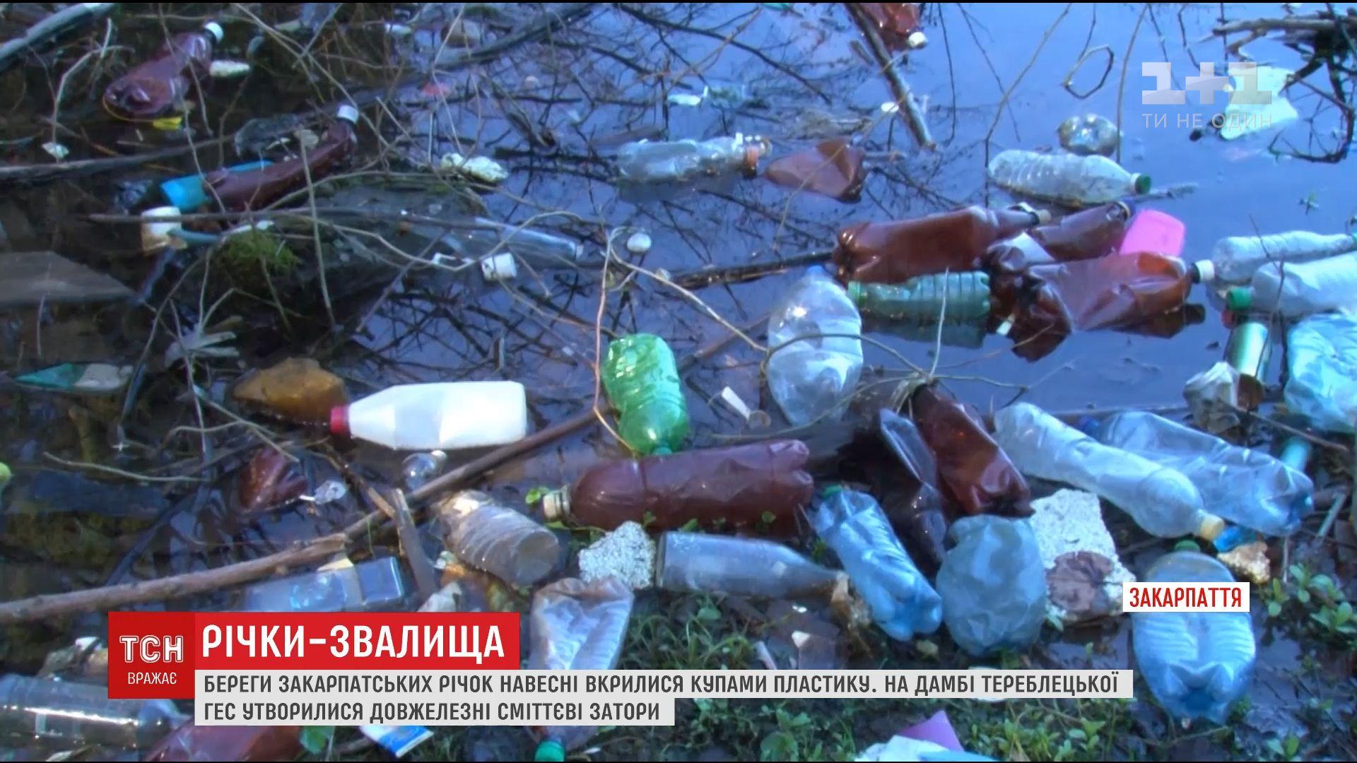 Берега закарпатских рек покрыли горы мусора /