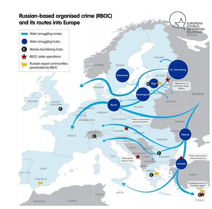 Російська організована злочинність і її маршрути у Європі / ecfr.eu