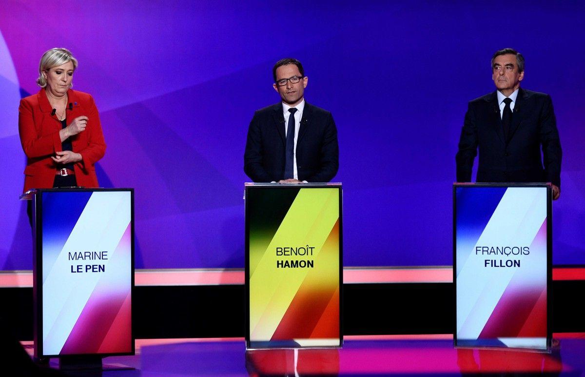 Марин Ле Пен, Бенуа Амон, Франсуа Фийон / REUTERS