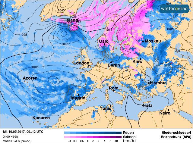 На карті синій колір - дощі, бузковий - сніги  / facebook.com/tala.didenko