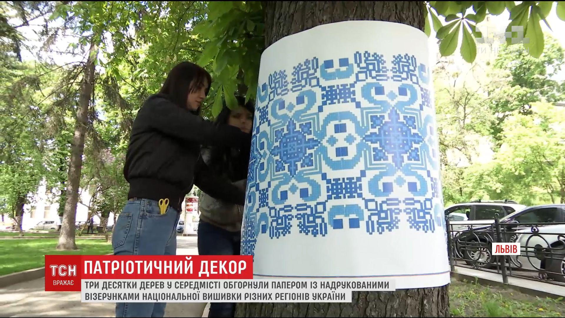 У центрі Львова три десятки дерев одягли у вишиванки /