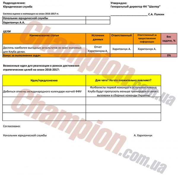 В распоряжение издания попал документ / champion.com.ua