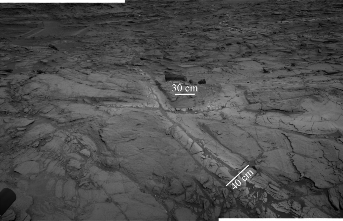 Исследователям удалось обнаружить светлые отложения, богатые силикатными минералами / фото NASA