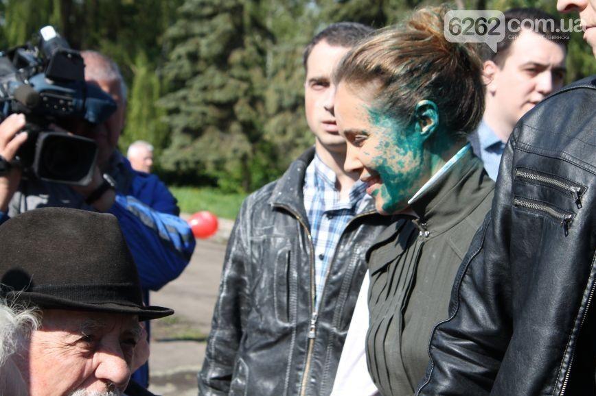 Королевскую ранее обливали зеленкой в Славянске / Фото 6262.com.ua