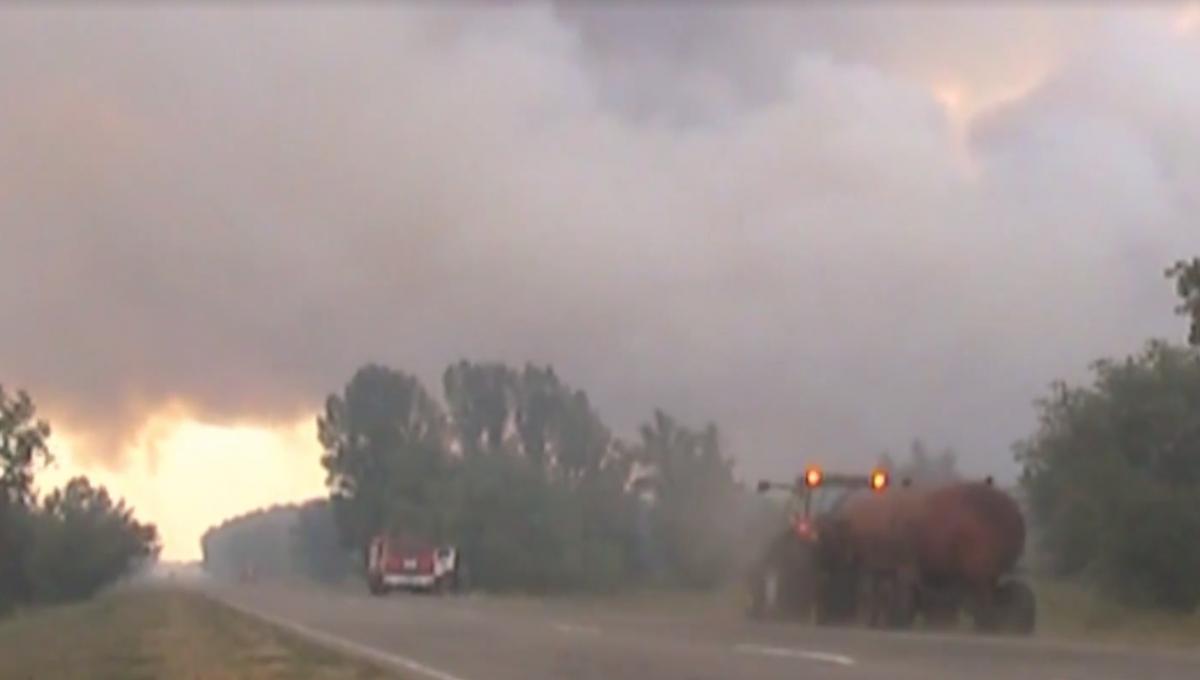 Херсонщина. Пожежна авіація продовжує гасити сосновий ліс