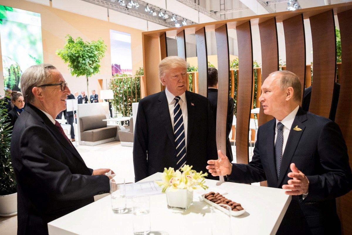 Жан-Клод Юнкер, Дональд Трамп и Владимир Путин / REUTERS