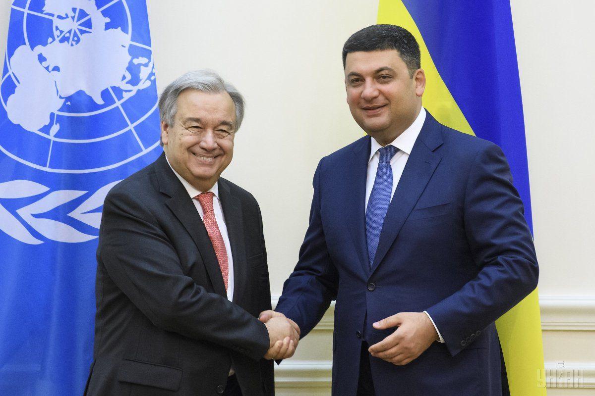 Генсек ООН провел встречу с премьером Гройсманом / фото УНИАН
