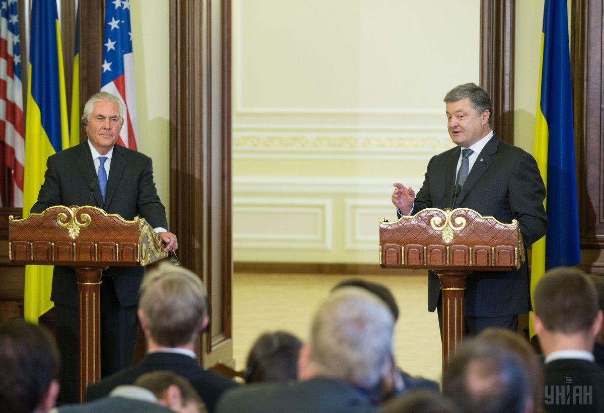 Пресс-конференция Порошенко и Тиллерсона / фото УНИАН