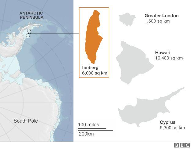 Отрыва гигантского айсберга ученые ожидали уже давно / фото bbc.com