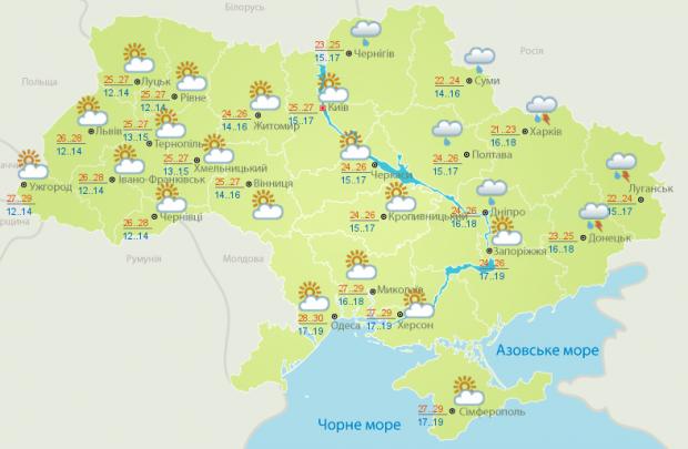 Прогноз погоди в Україні на неділю, 30 липня / фото Укргідрометцентр