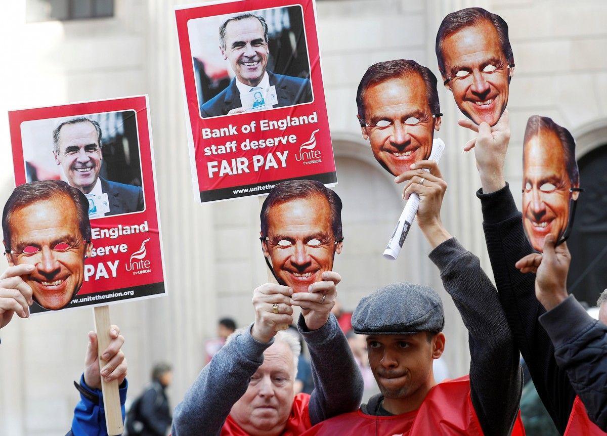 Работники Банка Британии устроили забастовку впервый раз за50 лет