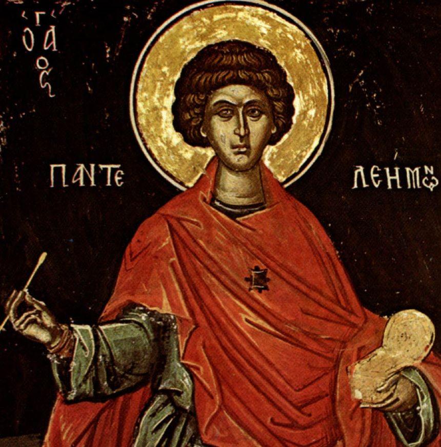 Фото: Великомученик Пантелеимон. Фреска церкви святителя Николая, 1546 год. Монастырь Ставроникита, Афон