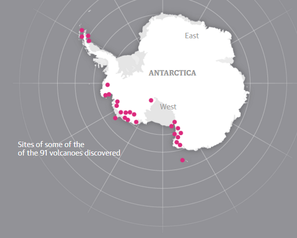 Вчені знайшли під льодами Антарктиди 91 вулкан