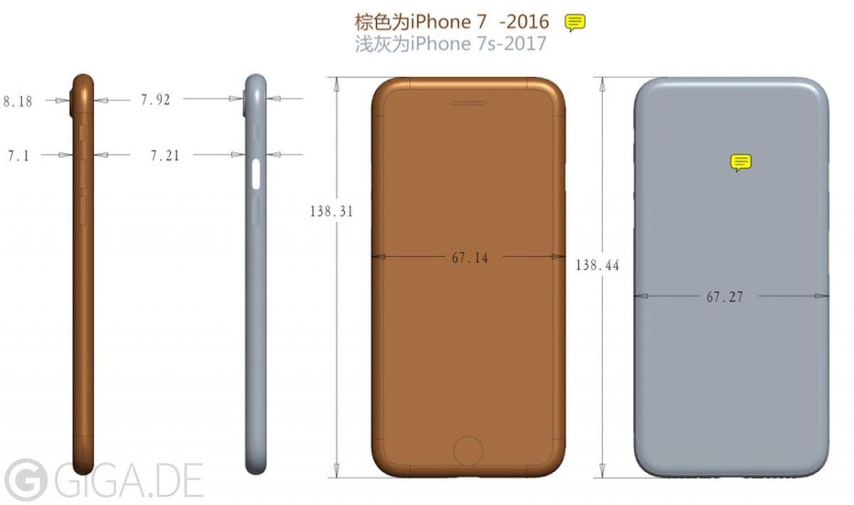 Размеры нового iPhone 7s / giga.de