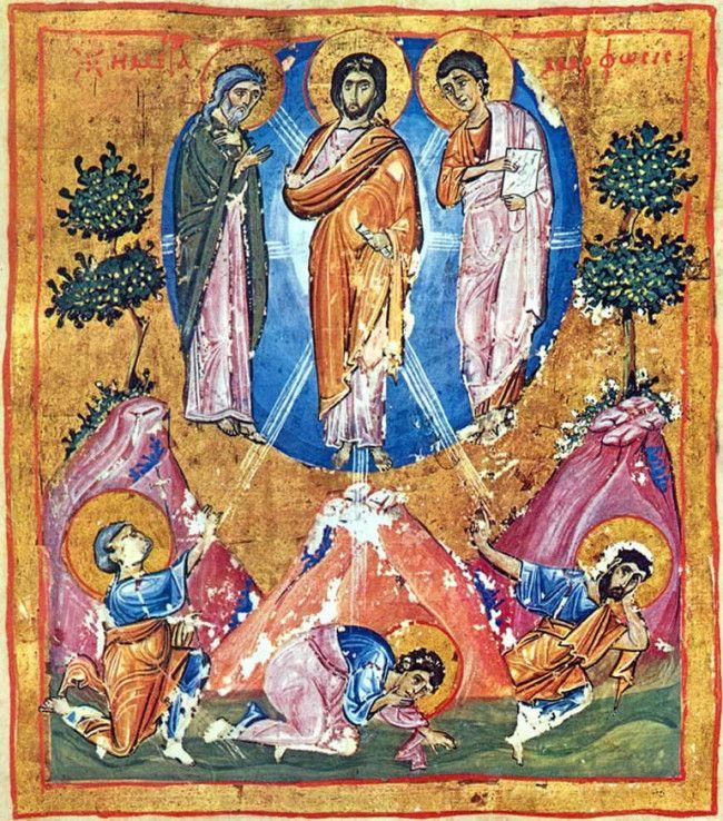 Миниатюра Евангелия. Преображение Господне. XI в. Иверский монастырь, Афон. Греция