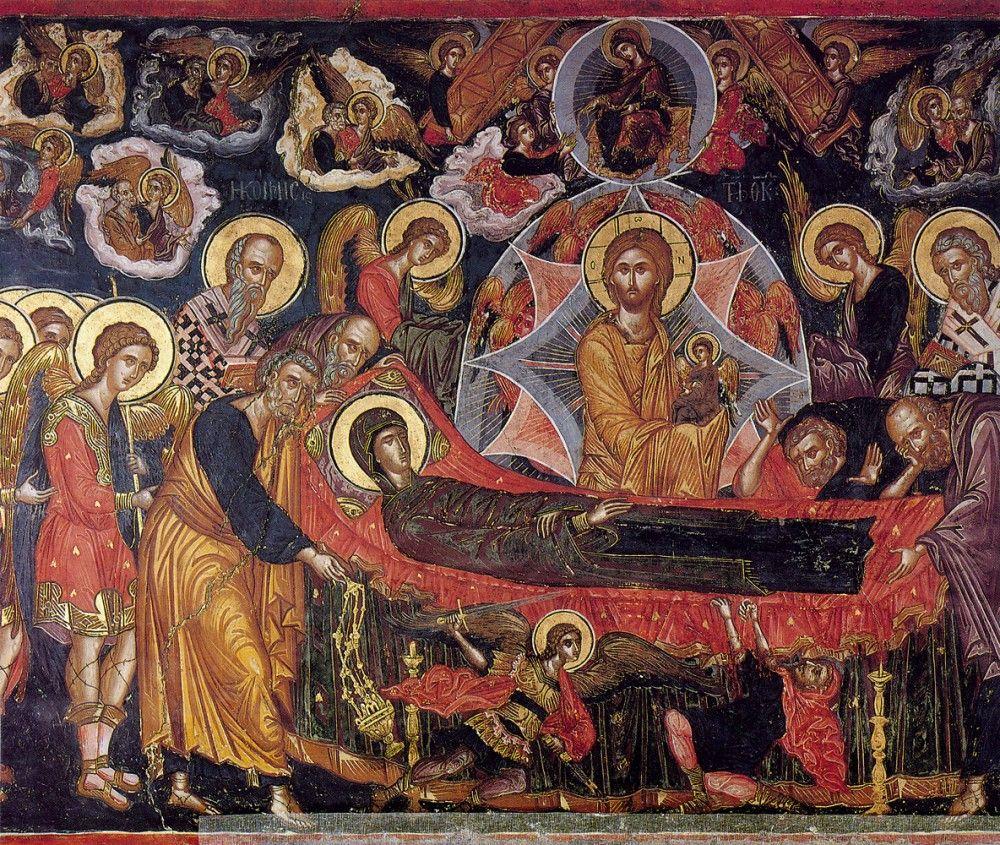 Фото: athos-ukraine.com / Успение Пресвятой Богородицы. Автор - Феофан Критский. Монастырь Ставроникита. Афон