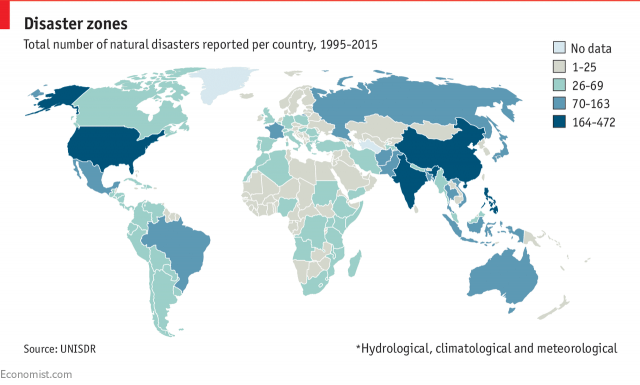 Країни за чисельністю природних катастроф / The Economist