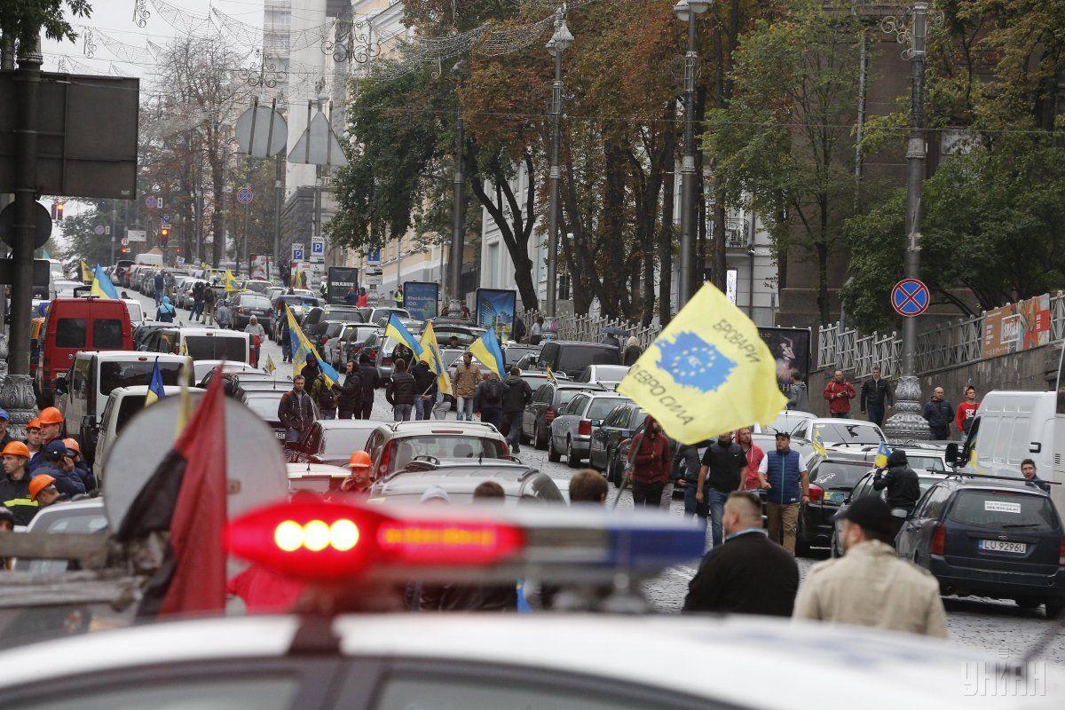 Владельцы авто на еврономерах заблокировали центр Киева / фото УНИАН