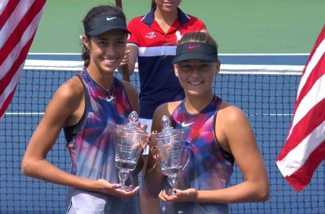 Марта Костюк (справа) выиграла US Open среди игроков до 18 лет в парном разряде / btu.org.ua