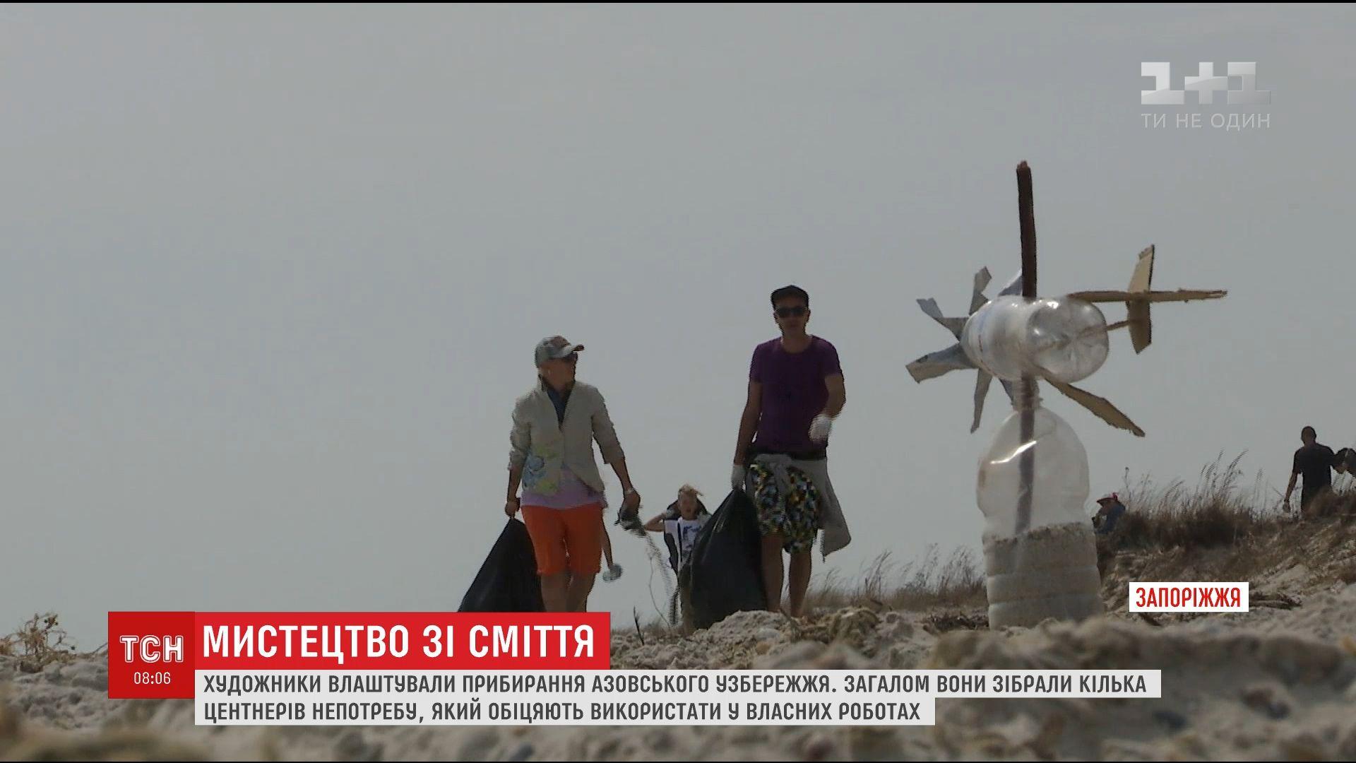 Европейские художники устроили уборку Азовского побережья / Скриншот видео ТСН