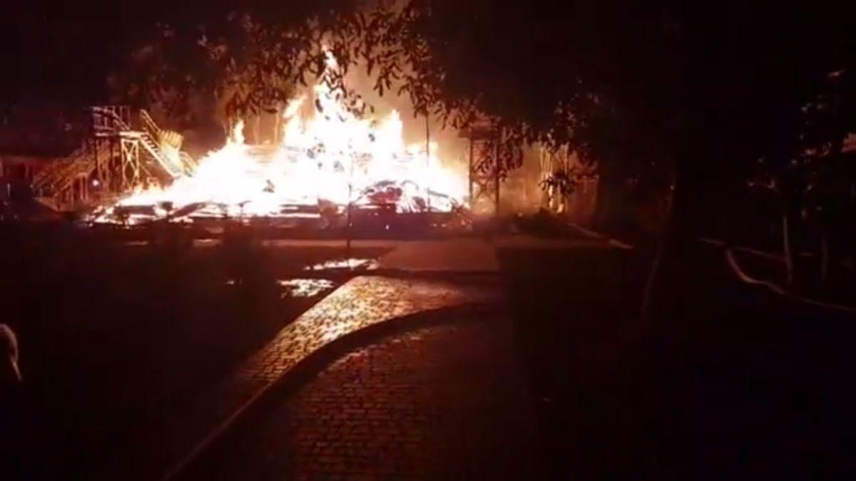 Пожар в детском лагере / скриншот видео