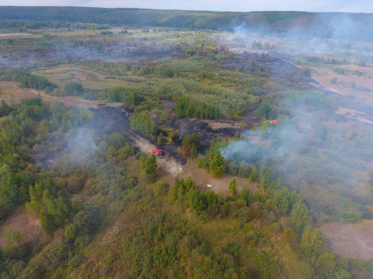 Рятувальники ліквідовують пожежу на торфі / фото dsns.gov.ua