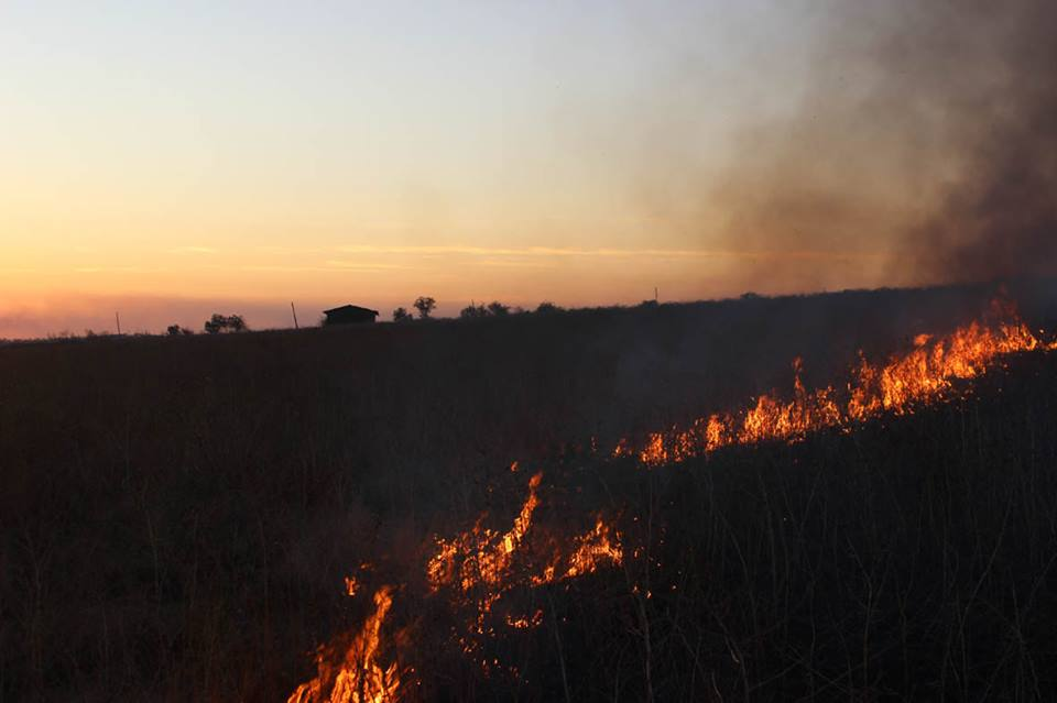 Local farmers' fields caught fire after the attack / Photo from ATO HQ's Facebook