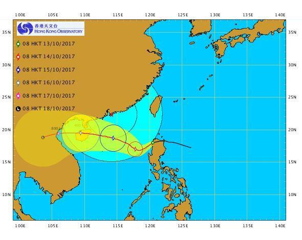 До 16 жовтня стихія може досягти китайського острова Хайнань / фото hko.gov.hk