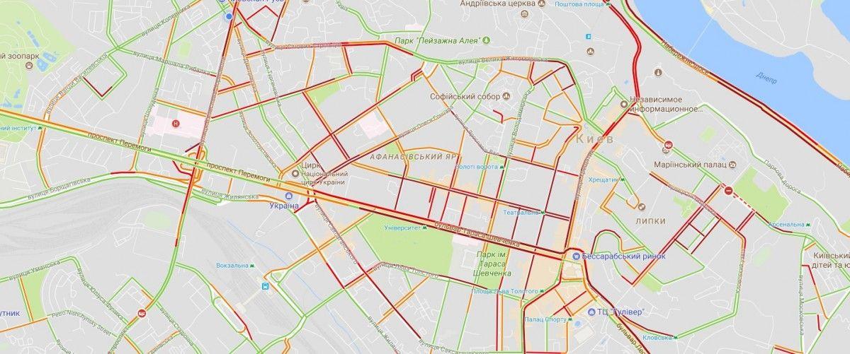 Крупнейшие заторы в центре города / скриншот Google Maps