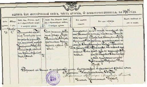 Выписка из метрической книги Рижского кафедрального собора. 1908 г.