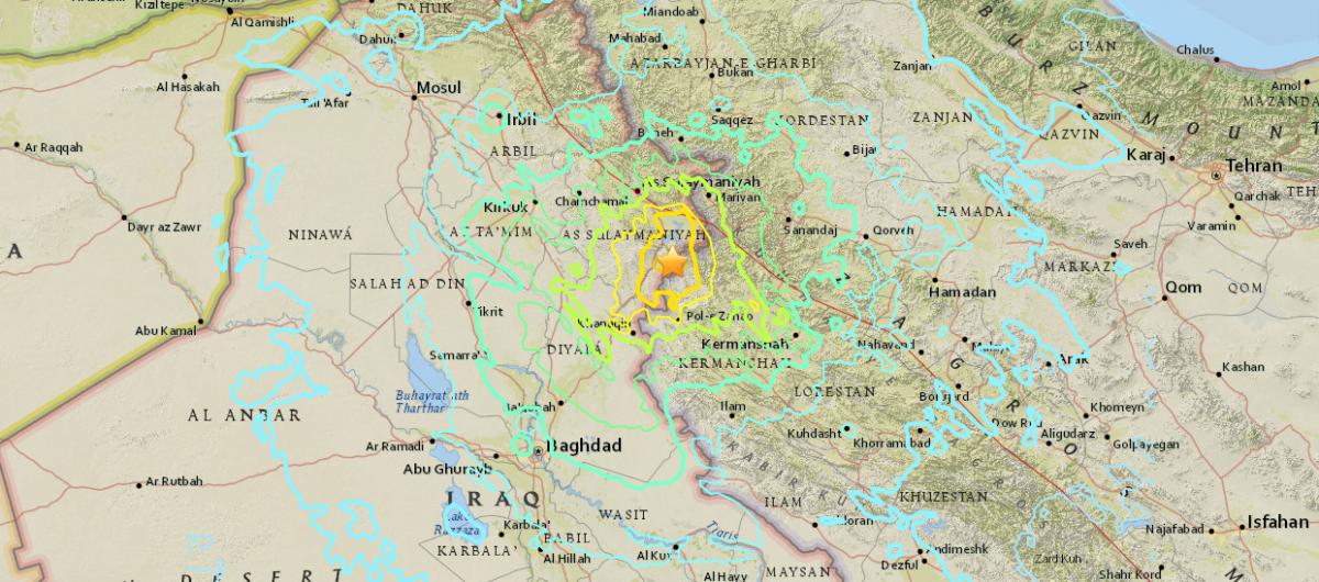 Землетрус стався на кордоні Ірану та Іраку / фото earthquake.usgs.gov