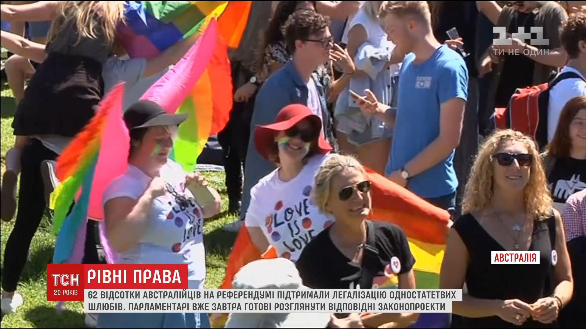 Австралійці на референдумі підтримали легалізацію одностатевих союзів