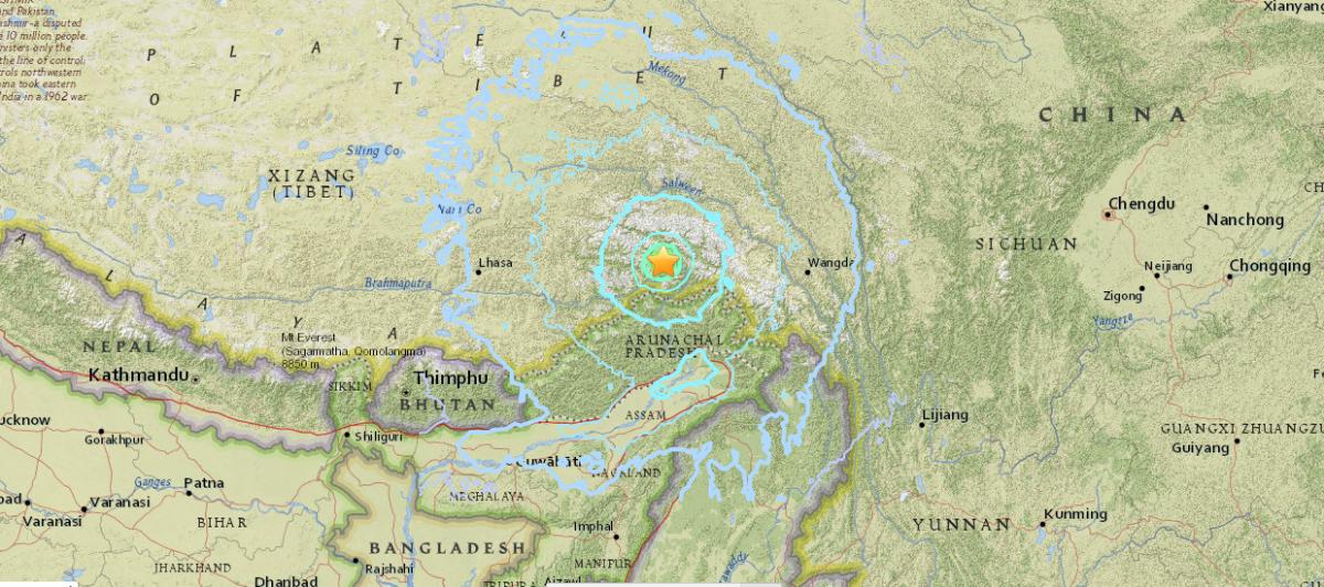 У Китаї стався землетрус / фото earthquake.usgs.gov