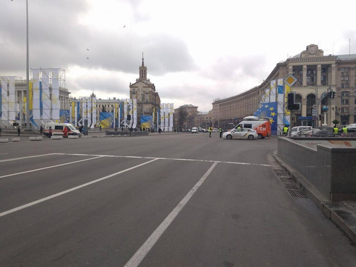 Перекрыто движение транспорта в центре Киева / фото УНИАН