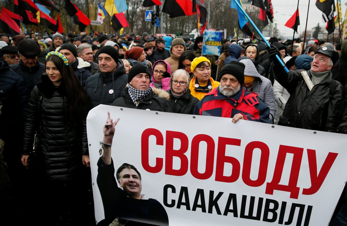 A rally in support of Saakashvili is under way in Kyiv on Dec 10 / REUTERS