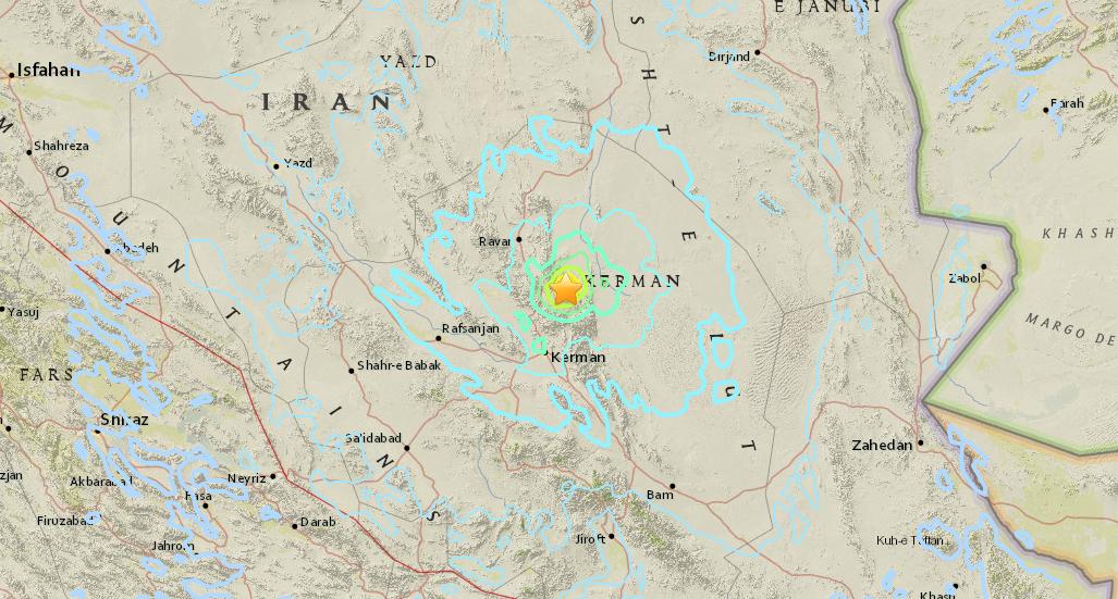 Землетрус стався в провінції Керман / фото earthquake.usgs.gov