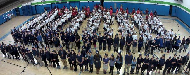 Школьники выстроились в форме меноры / facebook.com/BenPoratYosef