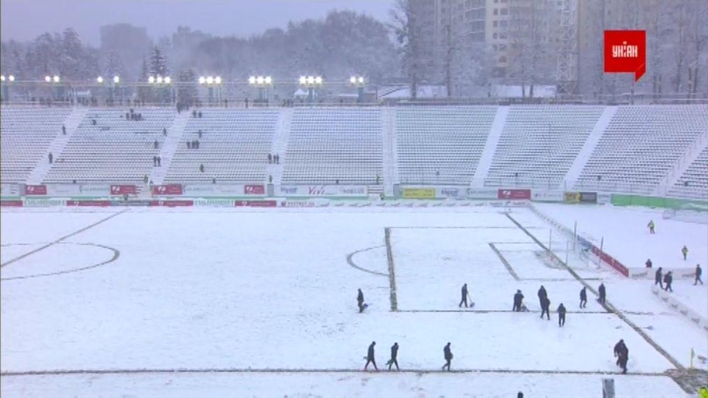Матч во Львове не был доигран из-за сильного снегопада  / УНИАН