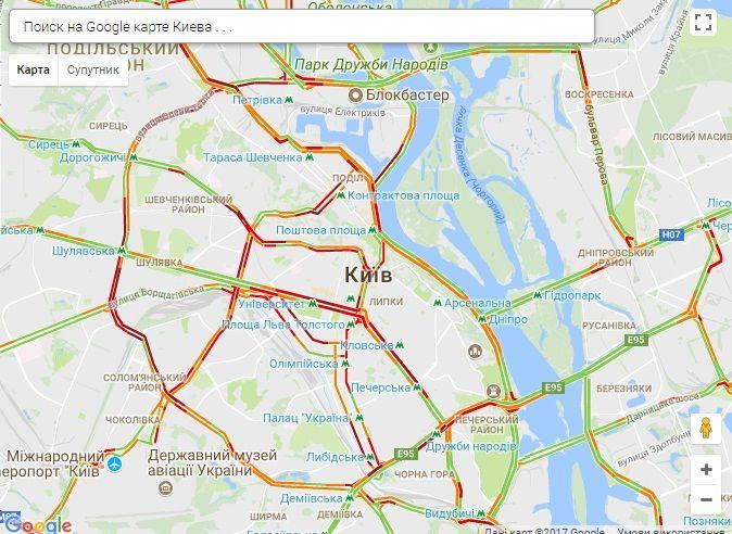 Пробки скували Київ / Скріншот infoportal.kiev.ua