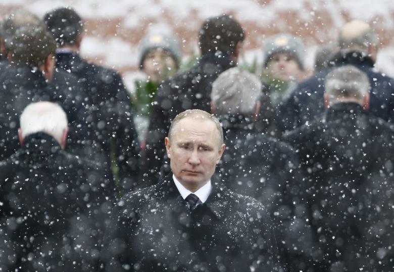 Грустный Путин на мероприятии 23 февраля 2018 года / REUTERS