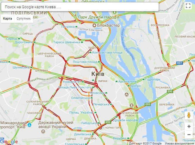 Столицу сковали пробки / Скриншот infoportal.kiev.ua