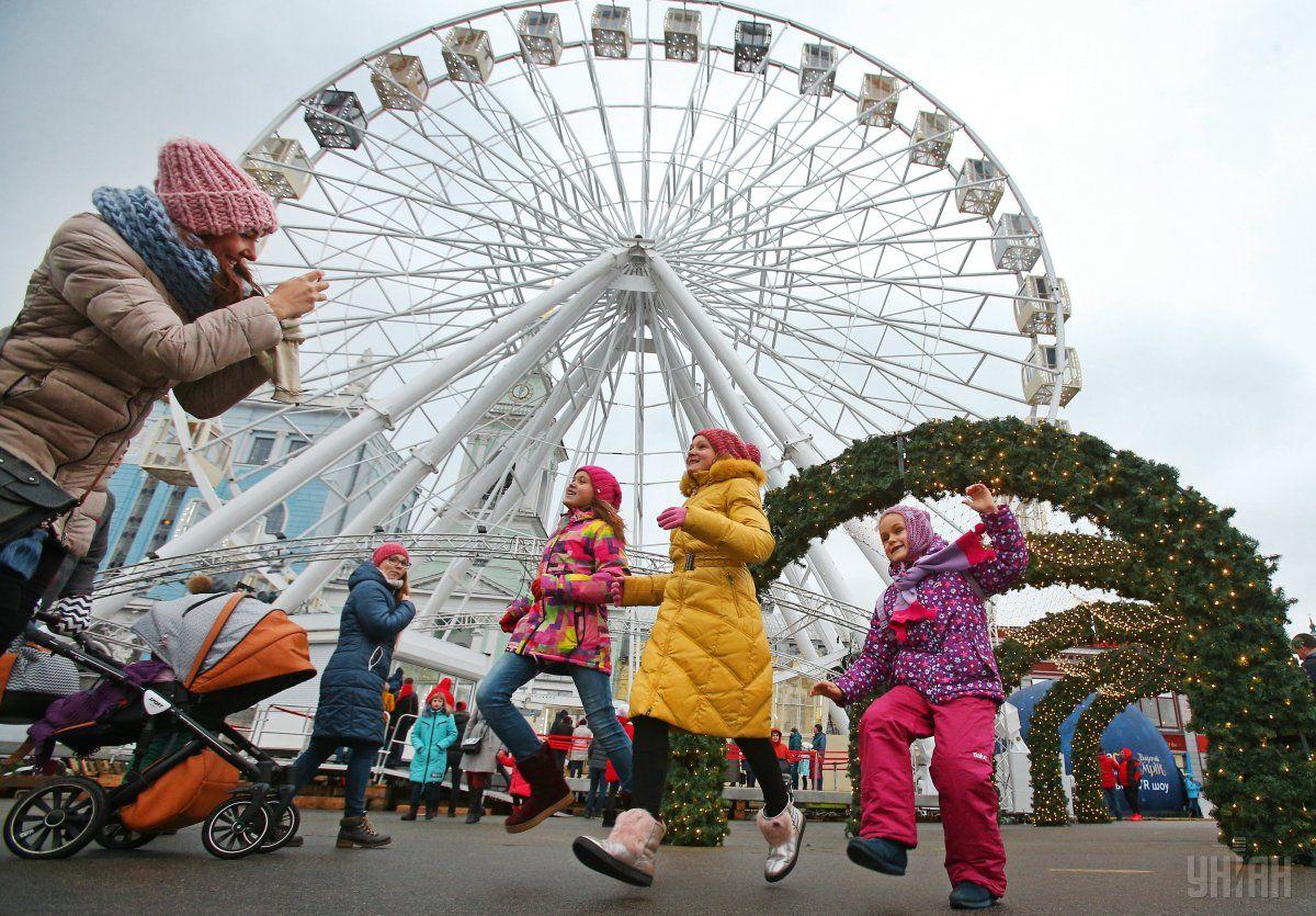 На Контрактовой площади создали праздничную атмосферу / Фото УНИАН