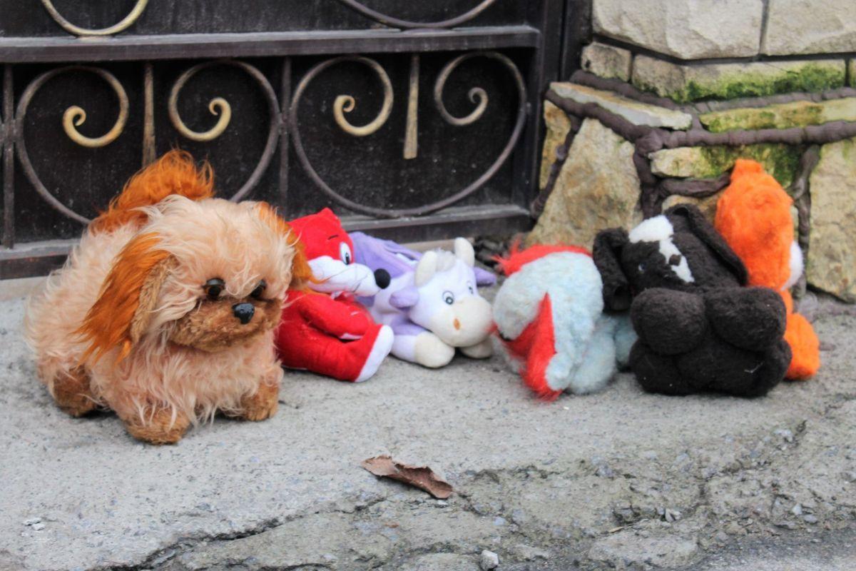 Активисты принесли детские игрушки / фото vn.20minut.ua