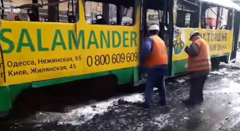 В Одесі горів набитий пасажирами трамвай / Скріншот
