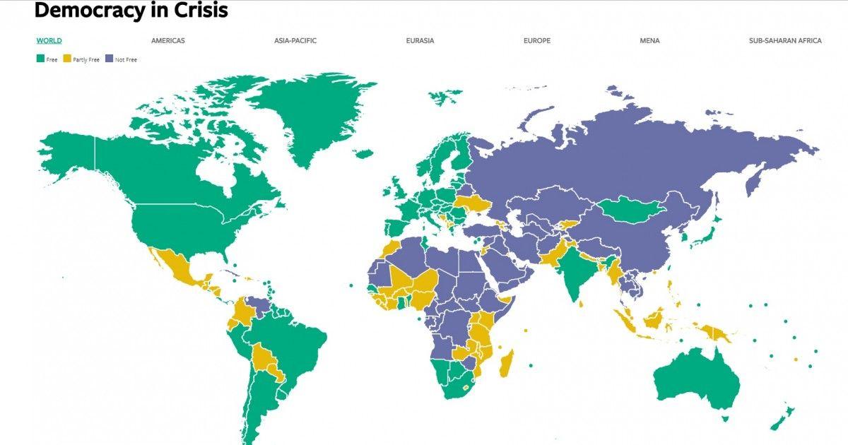 Демократия во всем мире столкнулась со сложными вызовами / скриншот Freedom House